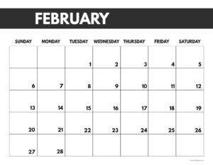 2022 February calendar page free printable with bold letters and numbers