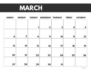 2022 March calendar page free printable with bold letters and numbers