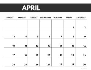 2022 April calendar page free printable with bold letters and numbers