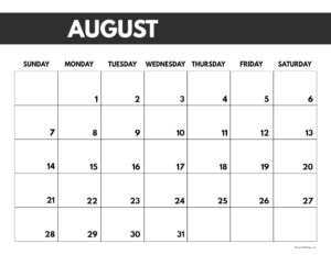 2022 August calendar page free printable with bold letters and numbers