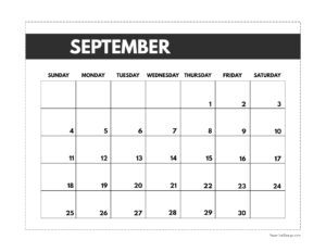 September 2022 classic calendar printable in 7 x 9.25 inch size