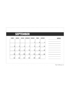 September 2022 classic calendar printable in 4.5 x 7 inches