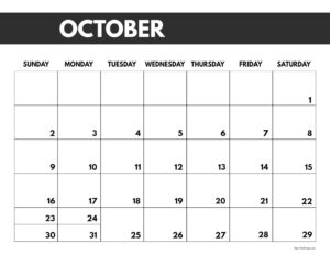 2022 October calendar page free printable with bold letters and numbers