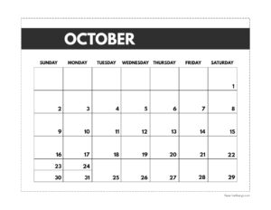 October 2022 classic calendar printable in 7 x 9.25 inch size