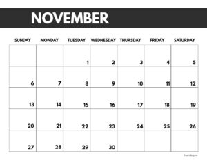 2022 November calendar page free printable with bold letters and numbers