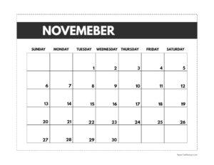 November 2022 classic calendar printable in 7 x 9.25 inch size