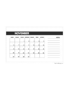 November 2022 classic calendar printable in 4.5 x 7 inches