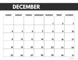 2022 December calendar page free printable with bold letters and numbers