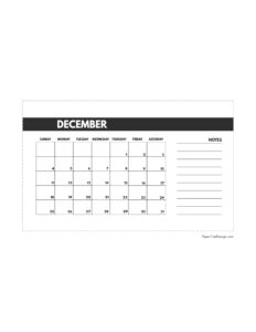 December 2022 classic calendar printable in 4.5 x 7 inches