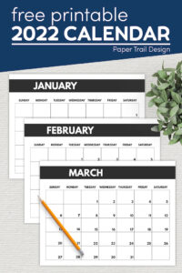 2022 calendar months January, February, and March with text overlay- free printable 2022 calendar