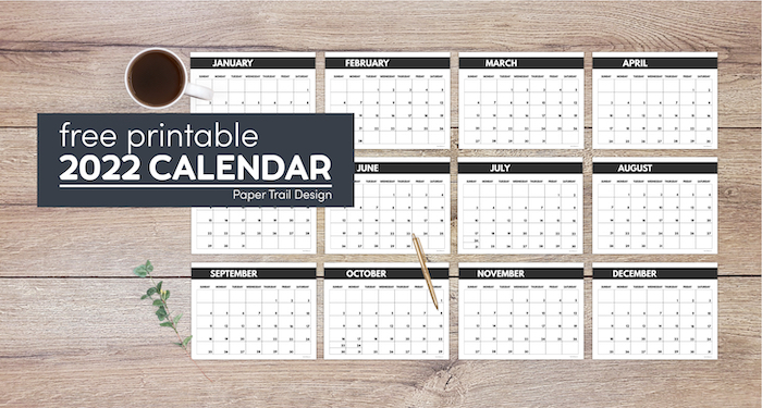 2022 free monthly calendar templates from January to December with text overlay- free printable 2022 calendar