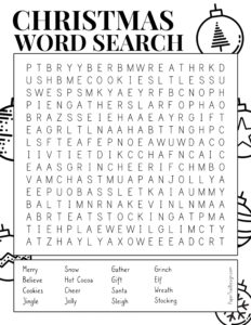 Christmas word search printable with Christmas themed words to find