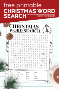 Christmas word search puzzle with text overlay- free printable Christmas word search