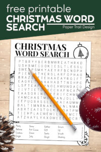 Free Christmas word search with text overlay- free printable Christmas word search