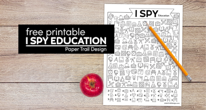 Education themed I spy printable game with pencil and apple with text overlay- free printable I spy education