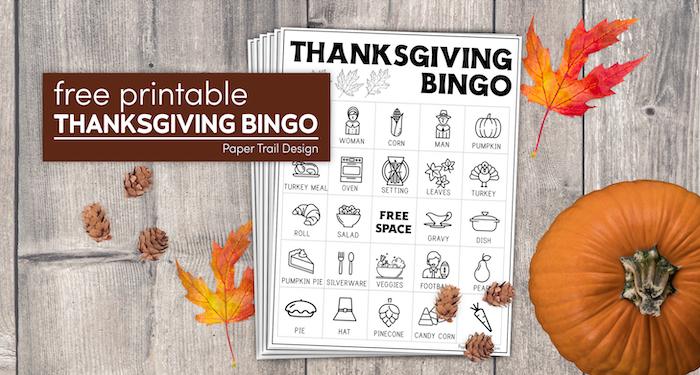 Thanksgiving bingo game with text overlay- free printable Thanksgiving bingo