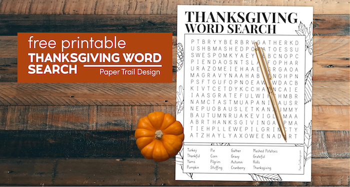 Thanksgiving word search game with mini pumpkin with text overlay- free printable Thanksgiving word search