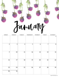 January floral 2022 calendar page to print for free