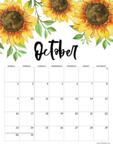 October floral 2022 calendar page to print for free