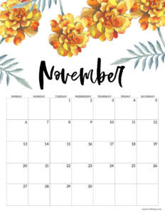 November floral 2022 calendar page to print for free