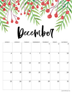 December floral 2022 calendar page to print for free
