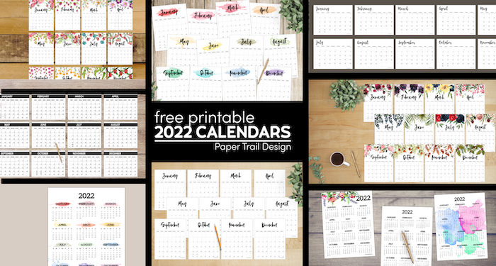 Many different 2022 calendar options available with text overlay- free printable 2022 calendars