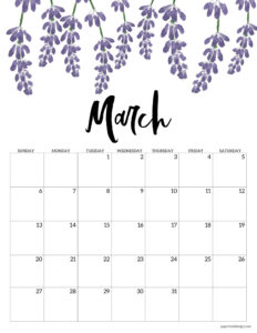 March floral 2022 calendar page to print for free