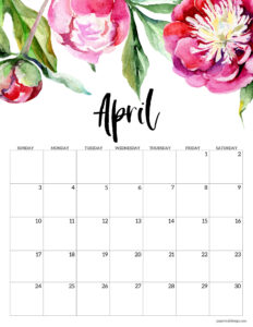 April floral 2022 calendar page to print for free
