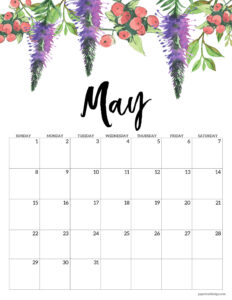 May floral 2022 calendar page to print for free