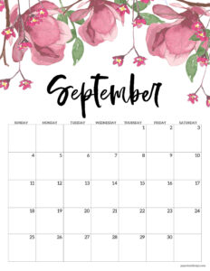 September floral 2022 calendar page to print for free