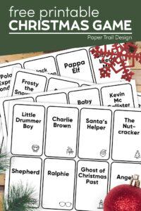 Christmas party game to play with text overlay- free printable Christmas game