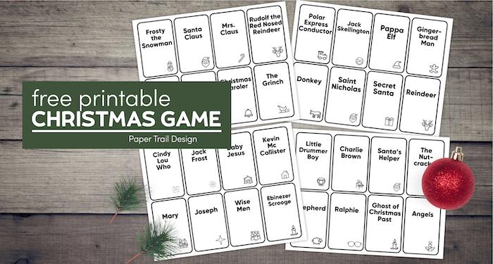 Christmas games to play including Christmas Hedbanz, Christmas charades, and Christmas memory with text overlay- free printable Christmas game