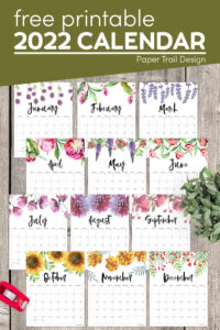 2022 floral calendar to print for free with text overlay- free printable 2022 calendar