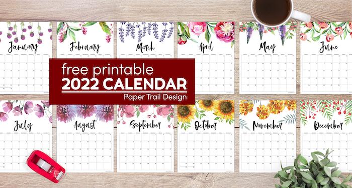 Free Printable Calendar 2022 – Floral