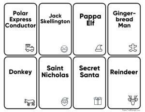 Christmas charades or Hedbanz or memory cards printable