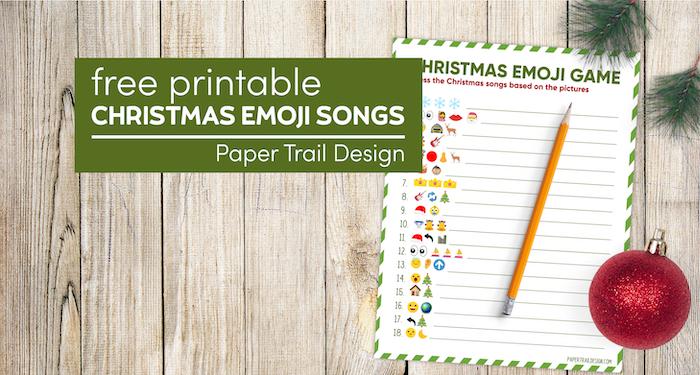 Emoji printable Christmas game idea with text overlay-free printable Christmas emoji songs