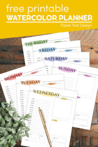 Daily planner template with watercolor look with text overlay- free printable watercolor planner