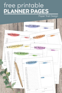 Free printable daily planner pages in different watercolor colors with text overlay- free printable planner pages
